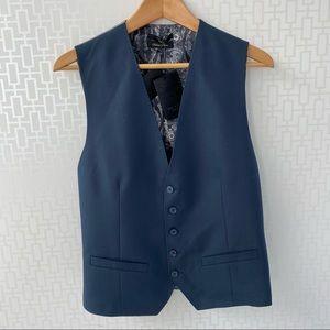 🇬🇧 Ted Baker Men Blue Grey Wool Silk Waistcoat